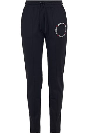 Love Moschino Women Stretch Trousers - Woman Glittered Printed Stretch-jersey Track Pants Size 38