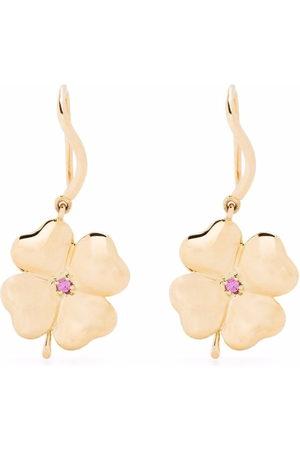 Aurelie Bidermann Women Earrings - 18kt yellow Clover pink sapphire earrings