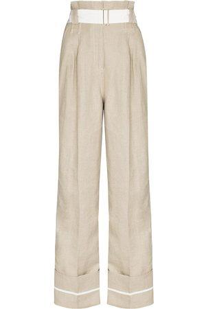 Ganni Women Wide Leg Trousers - Flared linen trousers - Neutrals