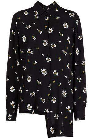 ROSETTA GETTY Floral-print split poplin shirt