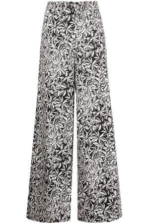ROSETTA GETTY Foliage-print poplin palazzo trousers