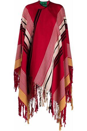 colville Stripe-print fringed cape