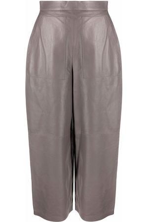 12 STOREEZ Women Wide Leg Trousers - Wide-leg leather trousers