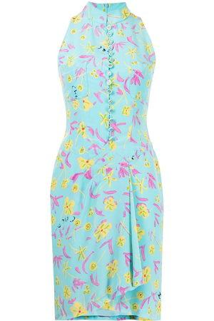 CHANEL 1997 floral draped silk dress