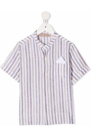 LA STUPENDERIA Stripe-print short-sleeved shirt - Neutrals