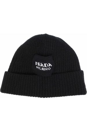 Prada Logo-intarsia ribbed beanie hat