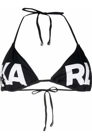 Karl Lagerfeld Women Bikinis - Logo-print halterneck bikini top