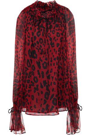 Redemption Woman Gathered Leopard-print Silk-georgette Blouse Claret Size 38