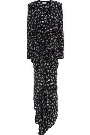 Redemption Woman Wrap-effect Draped Printed Silk-crepe Midi Dress Size 48