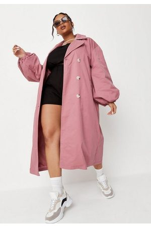 Missguided Plus Size Balloon Sleeve Belted Midaxi Trench Coat