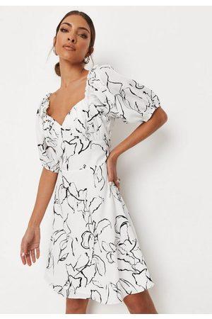 Missguided Tall Printed Milkmaid Mini Dress