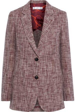 VICTORIA BECKHAM Women Blazers - Woman Linen-blend Tweed Blazer Burgundy Size 10