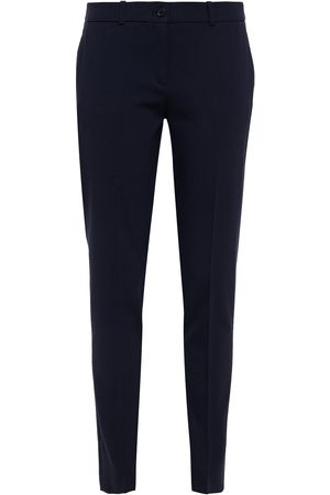Michael Kors Women Formal Trousers - Woman Stretch-wool Twill Slim-leg Pants Navy Size 0