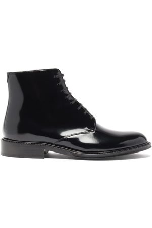 Saint Laurent Women Lace-up Boots - Army Lace-up Patent-leather Boots - Womens