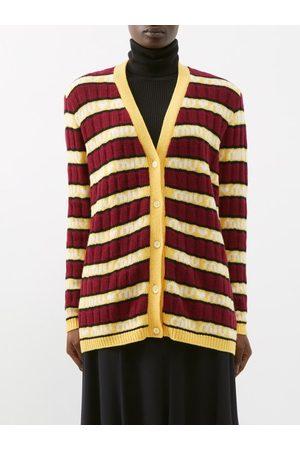 Miu Miu Women Cardigans - Logo-jacquard Striped Wool Cardigan - Womens - Multi