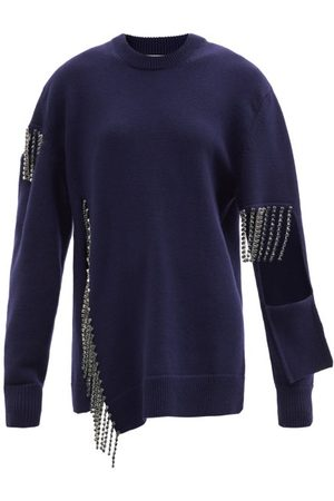 Christopher Kane Crystal-fringe Cut-out Wool Sweater - Womens - Navy