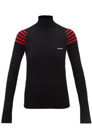 Miu Miu Logo-patch Striped-shoulder Ribbed Sweater - Womens