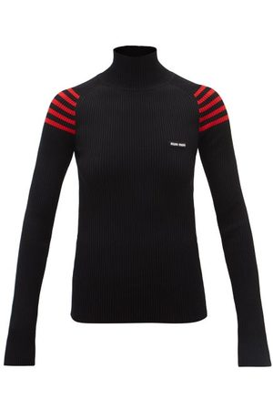 Miu Miu Women Jumpers - Logo-patch Striped-shoulder Ribbed Sweater - Womens