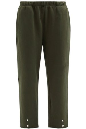Women Trousers - Les Tien - Snap-front Brushed-back Cotton Track Pants - Womens - Dark