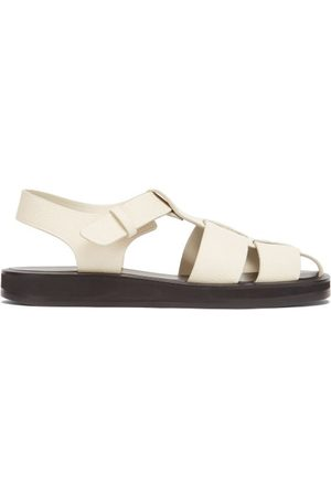 The Row Women Sandals - Grained-leather Fisherman Sandals - Womens - Cream
