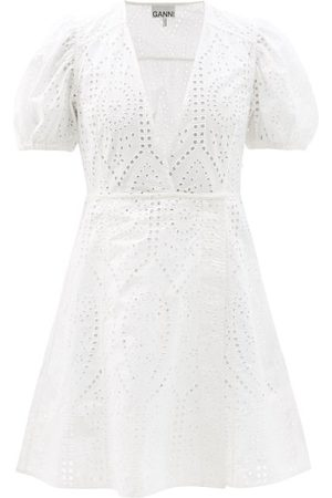 Ganni Crossover Broderie-anglaise Organic-cotton Dress - Womens