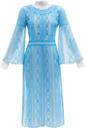 Fendi Double-layer Embroidered Mesh Dress - Womens