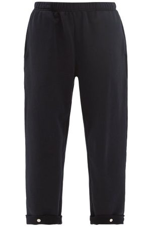 Les Tien Snap-front Brushed-back Cotton Track Pants - Womens - Navy