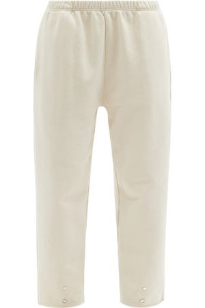 Women Trousers - Les Tien - Snap-front Brushed-back Cotton Track Pants - Womens - Ivory