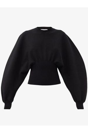 Women Formal Trousers - Bottega Veneta - Gathered-waist Wool-blend Sweater - Womens