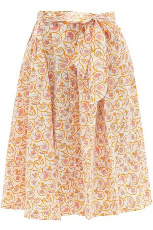 Thierry Colson - Java Pleated Floral-print Waist-tie Cotton Skirt - Womens - Print
