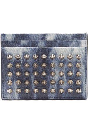 Christian Louboutin Spiked Denim-effect Leather Cardholder - Mens - Multi