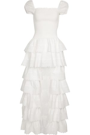 Caroline Constas Keegan smocked cotton poplin maxi dress