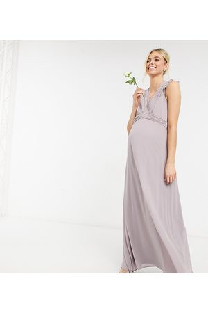 TFNC Bridesmaid lace trim plunge front maxi dress in