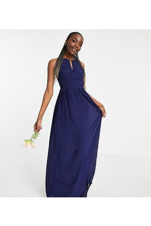 TFNC Bridesmaid pleated wrap detail maxi dress in navy