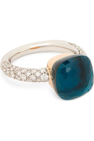 Pomellato White Gold, Rose Gold, Diamond and Turquoise Nudo Ring