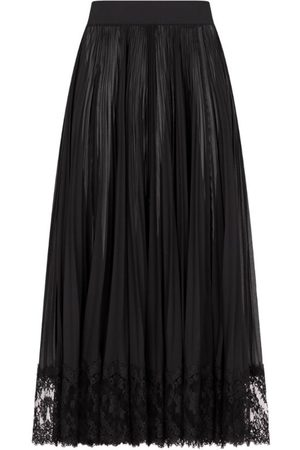 Dolce & Gabbana Lace-Trimmed Pleated Midi Skirt