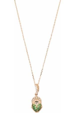 Aurelie Bidermann 18kt yellow Beetle diamonds and tsavorite necklace