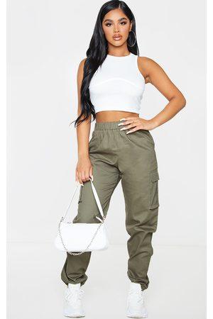 PRETTYLITTLETHING Women Cargo Trousers - Petite Khaki Pocket Detail Cargo Trousers