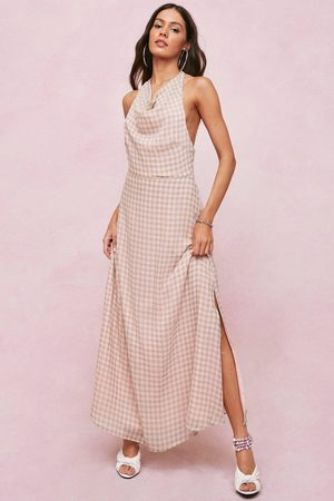 NASTY GAL Womens Checked Cowl Front Halterneck Midi Dress