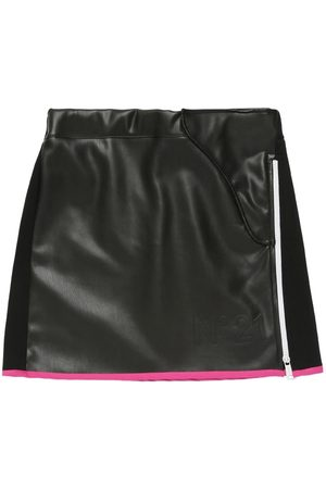 Nº21 Cotton & Faux Leather Skirt