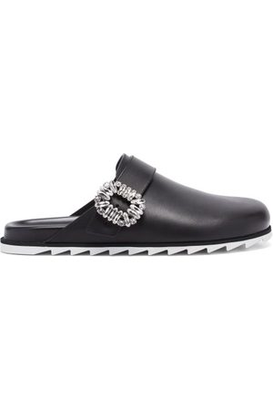 Roger Vivier Slidy Crystal-buckled Leather Backless Loafers - Womens
