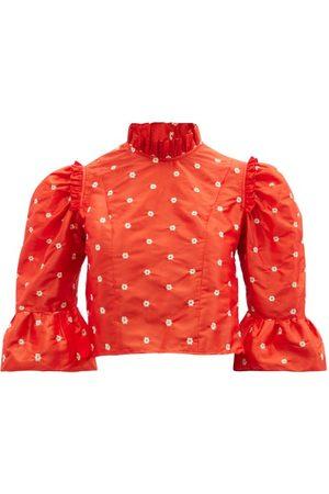 BATSHEVA Floral-embroidered Silk-taffeta Cropped Top - Womens - Multi