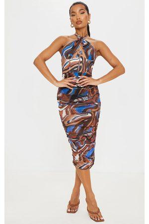 PRETTYLITTLETHING Marble Print Mesh Underbust Corset Detail Midaxi Dress