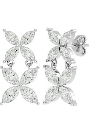 SuperJeweler 1 1/5 Carat Marquise Shape Diamond Cluster Dangle Earrings in 14K (1.80 g) (H-I, SI2-I1)