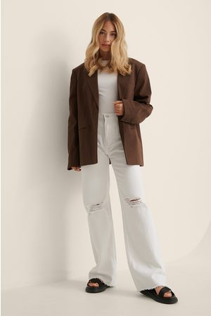 Trendyol Ripped Straight Jeans - White