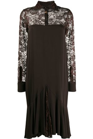 Romeo Gigli Pre-Owned 1997 lace panels long sleeved dress