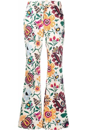 La DoubleJ Graphic-print flared trousers - Neutrals