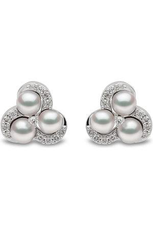 Yoko London 18kt white gold Sleek Akoya pearl diamond stud earrings