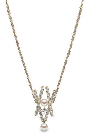Yoko London 18kt yellow Sleek Akoya pearl diamond pendant necklace