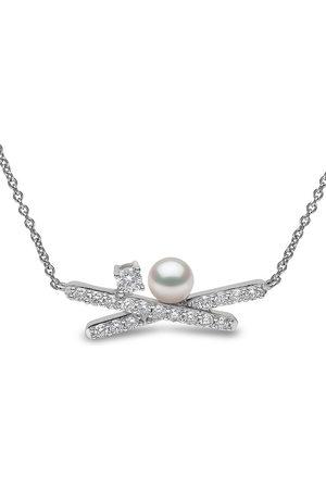 Yoko London 18kt white gold Sleek Akoya pearl diamond necklace